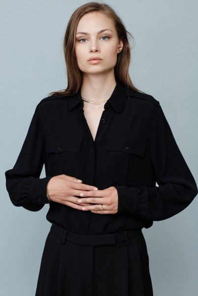 Hazel Shirt Blouse - Black